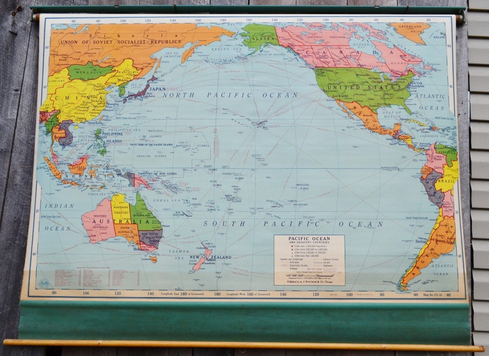 Pacific Ocean Map Adjacent Countries Large Pull Down Classroom