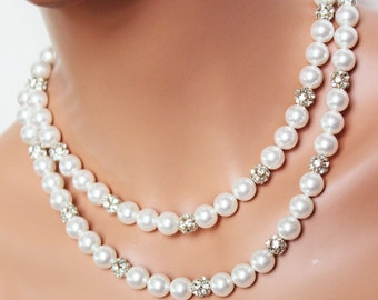 Classic White Pearl Bridal Necklace, Rhinestone Crystal Pearl, Bridal Jewelry, Vintage Style, Wedding Jewelry