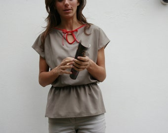 women grey green, short sleeves top, blouse SALE
