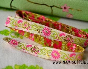Pink Glittering Flower Ribbon/Sewing tape 1m