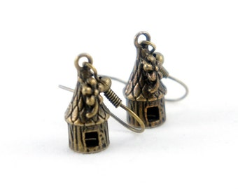 Tiny Hut Earrings - Antiqued Brass Vintage Style Little Hut Dangle Earrings - Bridesmaids Gifts Ideas - CP025