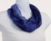 Short Infinity Scarf - super Sheer Cobalt Blue Tye Dye ~ SH221-S5