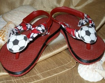 One of a Kind - Hand Decorated - Infant Flip Flops size 3/4  (black, white & red)