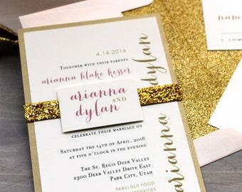 """Glitter Wedding Invitations, Gold Glitter Wedding Invitation, Glitter Envelope Liners, Gold Wedding Invites - """"Gold & Glitter"""" Sample"""