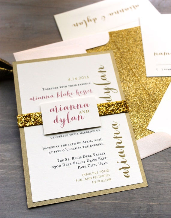 Glitter Wedding Invitations Gold Glitter Wedding Invitation