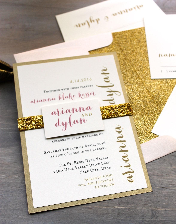 Glitter Wedding Invitations Gold Glitter Wedding Invitation