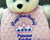 Happy First Birthday Bib Personalized- with Free Princess Hair Clip