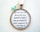 STEPMother of the bride pendant necklace with Swarovski pearl, original quote