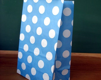 CLEARANCE SALE * Blue Polka Dot Stand Up Paper Bags -12- Candy Buffet, Party Favor, Wedding Favor - 5 x 7 Flat Bottom Bags