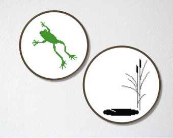 Counted Cross stitch Pattern PDF. Instant download. Leaping Frog silhouette. Includes easy beginner instructions.