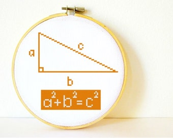 Counted Cross stitch Pattern PDF. Instant download. Pythagoras Theorem. Includes easy beginners instructions.