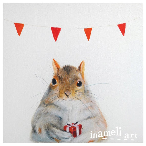 Woodland animal art, nursery decor, art for kids, squirrel art, red, baby animal painting, original print for nursery, baby room or study