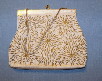 Vintage Gold and Ivory Beaded Purse Evening Bag Wedding Bridal Party Special Occasion Gift Idea Anniversary Birthday