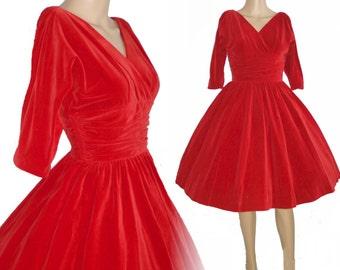 Vintage 1950s Dress . Red Velvet Femme Fatale Couture Garden Party Mad Man Prom Cocktail Rockabilly Ballerina Cupcake