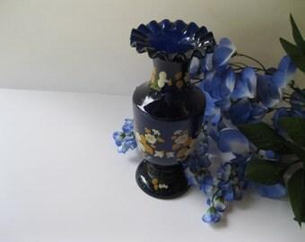 Cobalt Blue Flower Vase Hand Blown Victorian Vintage