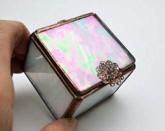 Stained Glass Box Hinged Lid Iridescent Clear White Streaks