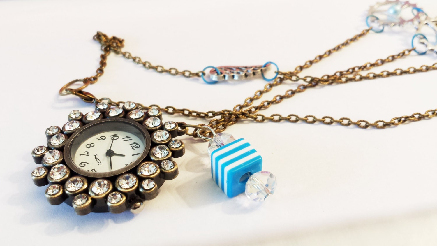 Bronze steampunk crystal gear flower charm clock watch Cool Emo Kawaii chain necklace Israel Hand made