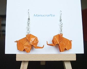 Christmas Gift / Origami earrings / Anniversary Gift / Paper jewellery / Origami elephant earring / Orange Colour