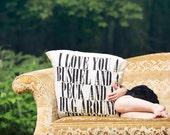 "Bushel & A Peck - 16"" - ish handmade Decorative Pillow - natural flour sack tea towel cotton - I love you a bushel and a peck"