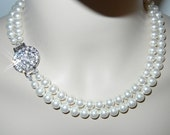 "Swarovski Crystal Pearl White 8mm about 16"" length with Silver Plated  Clasp with  1 "" x 1 ""  Crystal brooch.  bridal necklace"