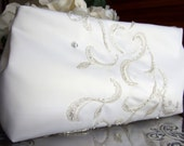 Classic Ivory & Silver Bridal Clutch Purse / Silver Beaded Embroidery / Upcycled Dress