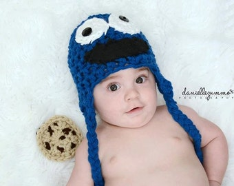 newborn Cookie Monster Earflap Hat 3 crocheted cookies ANY SIZE Toddler 3-6 6-12 Child 0-3 Mos Newborn Baby Photo Studio Prop Hat