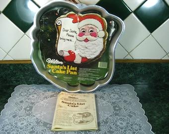 Vintage Cake Pan: Wilton Santa's List Cake Pan