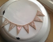 Oh Baby  cake Topper Banner in tea dyed cotton, white, uppercase lettering, heart, baby shower cake topper