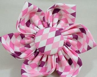 Dog Flower, Dog Bow Tie, Cat Flower, Cat Bow Tie - Pink and Purple Diamonds
