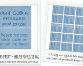 Star Wars Party - Light Saber Freezer Pop Cozie Tags - Printable Digital File