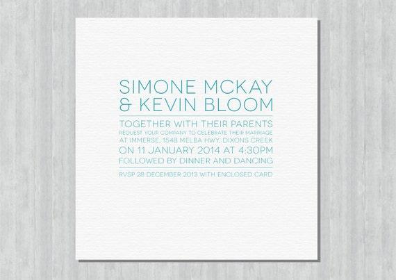 Printable Wedding Invitation - In Line