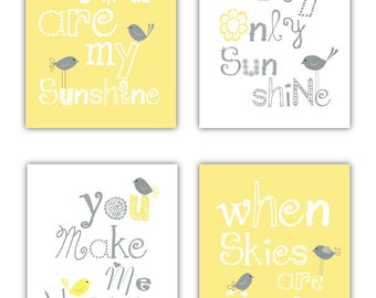 You are my sunshine Yellow and Gray Art Prints, Set of 4-8x10 prints, Matches Boy or Girl Nursery, nursery, or playroom,