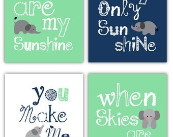 Elephant Art, You are my sunshine Yellow and Gray Art Prints, 4-8x10 prints, Matches Boy or Girl Nursery, nursery, or playroom