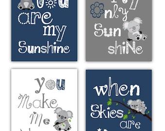 Koala Art // You Are My Sunshine Art Prints // Navy Blue and Gray Wall Art // Navy Nursery Decor // 4-8x10 PRINTS ONLY