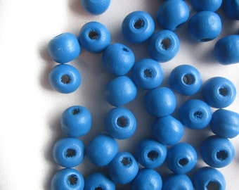 Royal Blue Wood Beads 10x9mm 30 Beads
