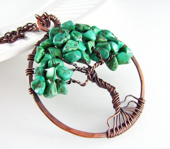 Tree Of Life Necklace Wire Wrapped Jewelry Green Turquoise Copper Jewelry Wire Wrapped Pendant Chip Beads