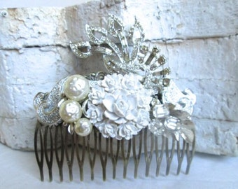 Wedding Hair Comb Handmade Hairpiece Hair Leaves Bridal Accessory White Vintage Jewelry
