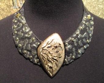 Bib Necklace Black Gold Leopard Studded with Vintage Element