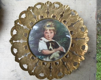 Vintage Round Picture Little Girl With Puppy Brass Butterflies Glass 1950s Made In England