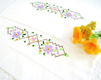 Vintage Hand Cross Stitched Pillowcases Pair Set, Lavender Yellow Green Brown Black Pink