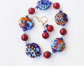 Abstract Patterns OOAK Glass Bead Bracelet with Earrings, 7 1/2 inches (19.5cm) M to L, Artisan-made Beads and Muranos Mixed on Stretch Cord