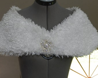 White Silky Furry Fleece Capelet