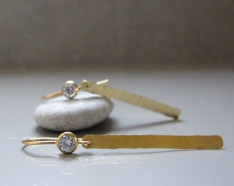 14k solid gold dangle earrings, White zircon earrings, Long dangle earrings