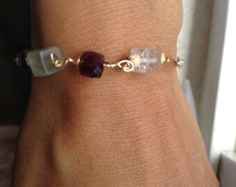 Garnet, Rutile Quartz, Gold, Peridot bracelet, Lilyb444,  jewelry, Gifts Under 40