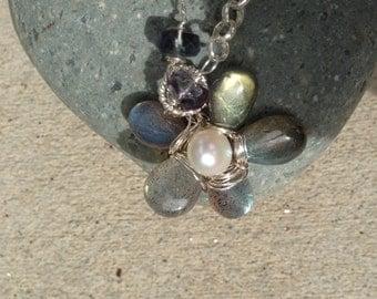 Labradorite Flower, Blue sapphire, Aquamarine, Fluorite, London Blue topaz, White Pearl, Silver Necklace