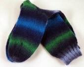Wool Socks Hand Knitted in Blue Green, Medium