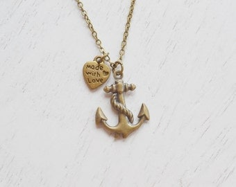 anchor necklace,bridesmaid gift,anchor jewelry,nautical jewelry,beach wedding.sailing jewelry,ocean necklace,made with love,BFF,heart jewel