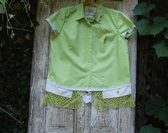 SALE,WAS 55.00,Kiwi,Buton Front,Short Sleeve Shirt,Vintage Crochet,Linens,Lace,1Xlarge,Upcycled,Eco Friendly