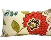 Botanical flower pillow, lumbar pillow, pillow cover, lumbar cushion