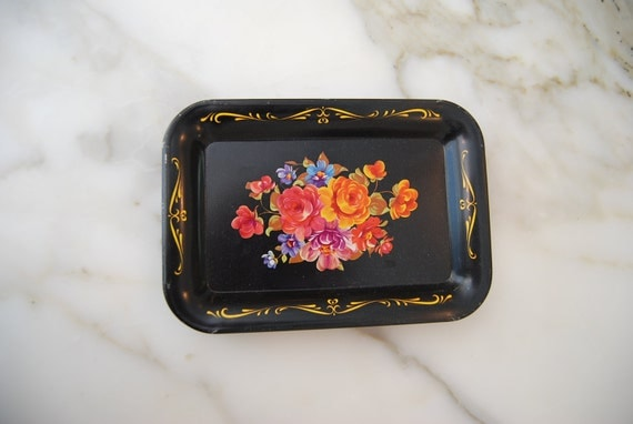 Vintage Black Floral Toile Set of Seven Metal Trays Black Floral Cottage Chic